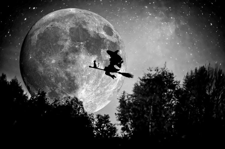 October Hat Broom Witch Halloween Magic Black